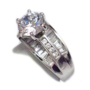 Engagement High Fashion Ring Sterling Silver 6.25
